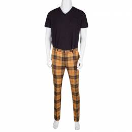 Etro Tan Brown Plaid Checked Wool Cuba Slim Fit Trousers L 135806