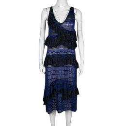 Missoni Blue and Black Lurex Knit Ruffled Sleeveless Dress M 136898