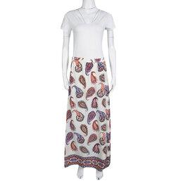 Tory Burch New Ivory Dapper Paisley Print Pleated Silk Maxi Skirt L 138492