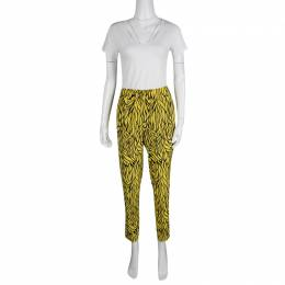 Etro Yellow and Black Leaf Printed Silk Elasticized Waist Pants M 131593