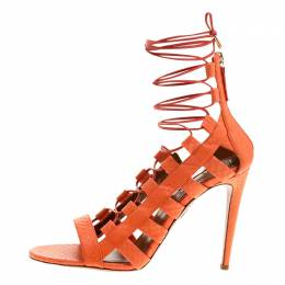 Aquazzura Orange Python Leather Amazon Lace Up Open Toe Sandals Size 40.5 130534