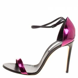 Casadei Metallic Magenta and Black Leather Candylux Ankle Strap Open Toe Sandals Size 41 127154
