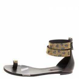 Casadei Two Tone Crystal Embellished Ankle Cuff and PVC Vinil Flat Sandals Size 38.5 127158