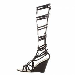 Chanel Black Leather Open Toe Gladiator Wedge Sandals Size 40.5 129851