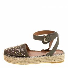 Valentino Army Green Embellished Suede and Leather Ankle Strap Espadrilles Size 40 116002