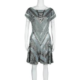 Matthew Williamson Grey Embellished Silk Cap Sleeve Dress M 125863