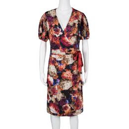Just Cavalli Floral Printed Knit Wrap Dress L 125713