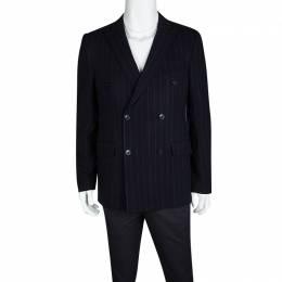 Etro Navy Blue Wool Blend Chalk Striped Double Breasted Blazer L 119117