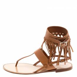 Valentino Brown Leather Fringe Detail Ankle Wrap Flat Sandals Size 37.5