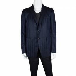 Etro Navy Blue Striped Wool Silk Blend Mineide Regular Fit Blazer L 120936