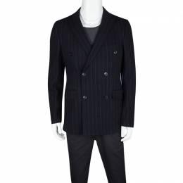 Etro Navy Blue Wool Blend Chalk Striped Double Breasted Blazer M 119221