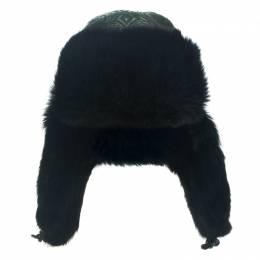 Etro Dark Green Leather and Rabbit Fur Aviator Hat M 111959
