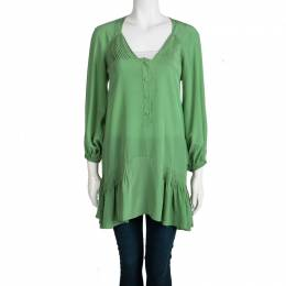 Ermanno Scervino Green Silk Pintucked Detail Long Sleeve Tunic S 98576