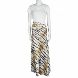Just Cavalli Tiger Printed Satin Flared Godet Maxi Skirt L 101249