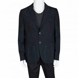 Etro Navy Blue Paisley Printed Wool Blazer M 106880