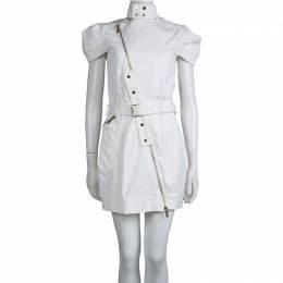 Mathew Williamson White Denim Overlap Zipper Belted Dress M Matthew Williamson 74686