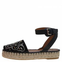 Valentino Black Embellished Suede and Leather Ankle Strap Espadrilles Size 38 87475