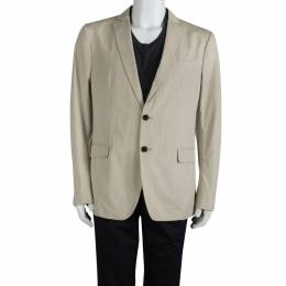 Salvatore Ferragamo Beige Cotton Regular Fit Giacca Blazer L 89627