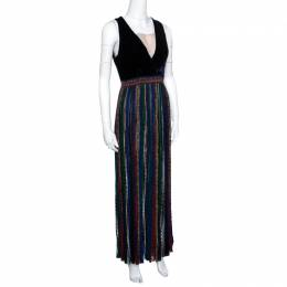 Missoni Velvet Bodice Detail Lurex Knit Sleeveless Maxi Dress S 158784
