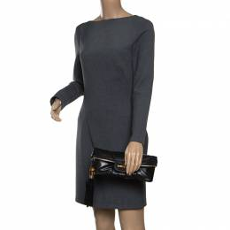Gucci Black Leather Bamboo Detail Tassel Lucy Fold Over Clutch 158787