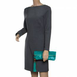 Gucci Green Leather Bamboo Detail Tassel Lucy Fold Over Clutch 158782