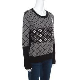 Sonia Rykiel Monochrome Diamond Pattern Wool Embellished Crew Neck Sweater L 159268