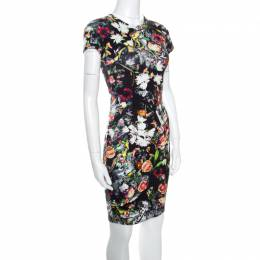 McQ by Alexander McQueen Black Floral Printed Knit Bodycon Dress XXS 159939