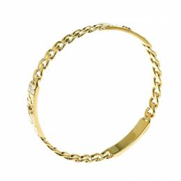 Chanel CC Crystal Textured Chain Link Gold Tone Bangle Bracelet 160593