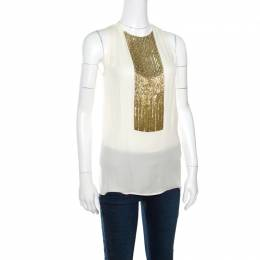Dsquared2 Beige Embellished Panel Sleeveless Silk Top S 160580