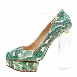 Charlotte Olympia Green Leaves Printed Canvas and PVC Mabel Platform Pumps Size 39 160872
