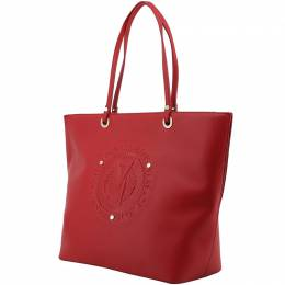 Versace Jeans Red Faux Leather Logo Shopping Tote
