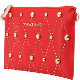 Versace Jeans Red Faux Leather Studded Clutch Bag