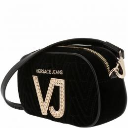 Versace Jeans Black Signature Fabric Crossbody Bag