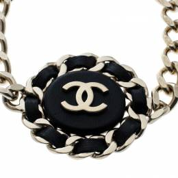 Chanel CC Black Leather Gold Tone Chain Link Bracelet 163548