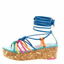 Sophia Webster Multicolor Leather Cord Copacabana Cork Platform Ankle Wrap Sandals Size 38.5 165115