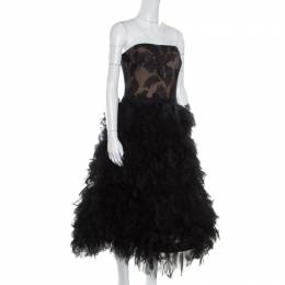 Tadashi Shoji Black Tulle Embroidered Faux Feather Strapless Dress L