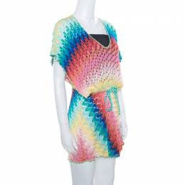 Missoni Mare Multicolor Perforated Patterned Knit Faux Wrap Tie Detail Kaftan Dress S 165950