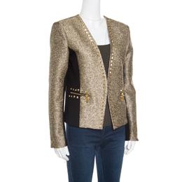 MICHAEL Michael Kors Gold Contrast Paneled Embellished Front Open Blazer M