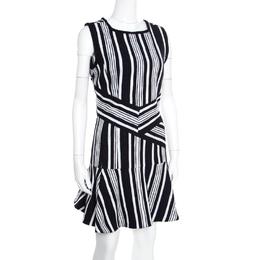 Carven Monochrome Textured Cutout Back Detail Sleeveless Dress L 167184