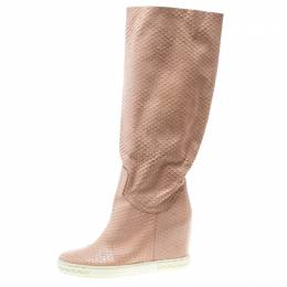 Casadei Pale Pink Snakeskin Embossed Leather Knee High Boots Size 39 168853