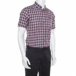 Dsquared2 Multicolor Tartan Plaid Checked Cotton Short Sleeve Shirt M 169332