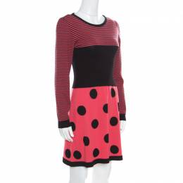 Boutique Moschino Pink Stripes and Polka Dotted Wool Fitted Dress M 169321