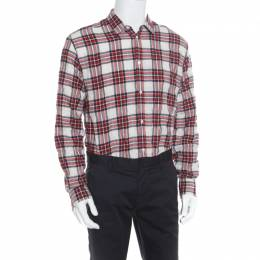 Dsquared2 Red Plaid Check Cotton Herringbone Weave Relaxed Dan Shirt L 169245