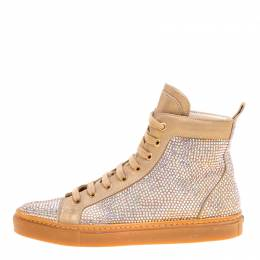 Le Silla Beige Crystal Embellished Leather High Top Sneakers Size 37 169351