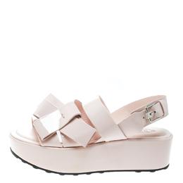 Tod's Blush Pink Patent Leather Slingback Platform Sandals Size 39.5 Tod's