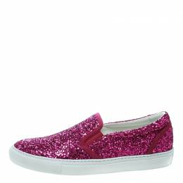 Dsquared2 Fuchsia Pink Coarse Glitter Slip On Sneakers Size 40 170962