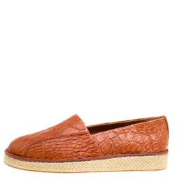 Salvatore Ferragamo Cognac Crocodile Leather Lampedusa Espadrilles Size 43