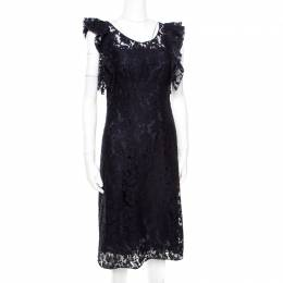 Prada Navy Blue Floral Lace Ruffled Sleeveless Dress S 172515