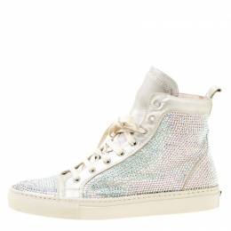 Le Silla Light Grey Suede Crystal Embellished High Top Sneakers Size 38 174806