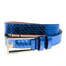 Dsquared2 Metallic Blue Python Leather Belt Size 95 CM 175551